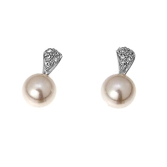 Fülbevaló Pearl simple rhod. crystal